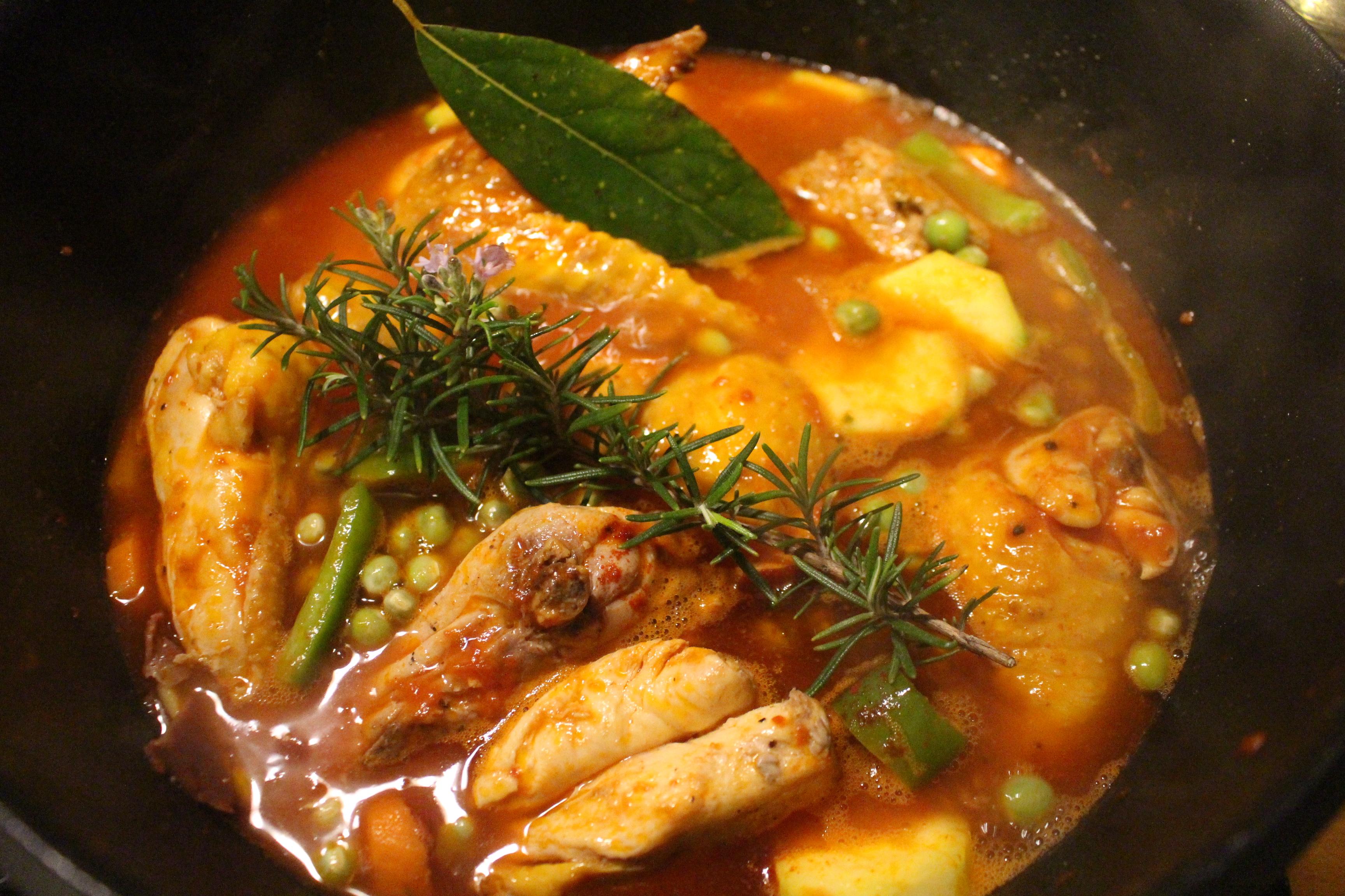 Pollo de corral guisado con verduras y jam n serrano - Pollo de corral guisado ...