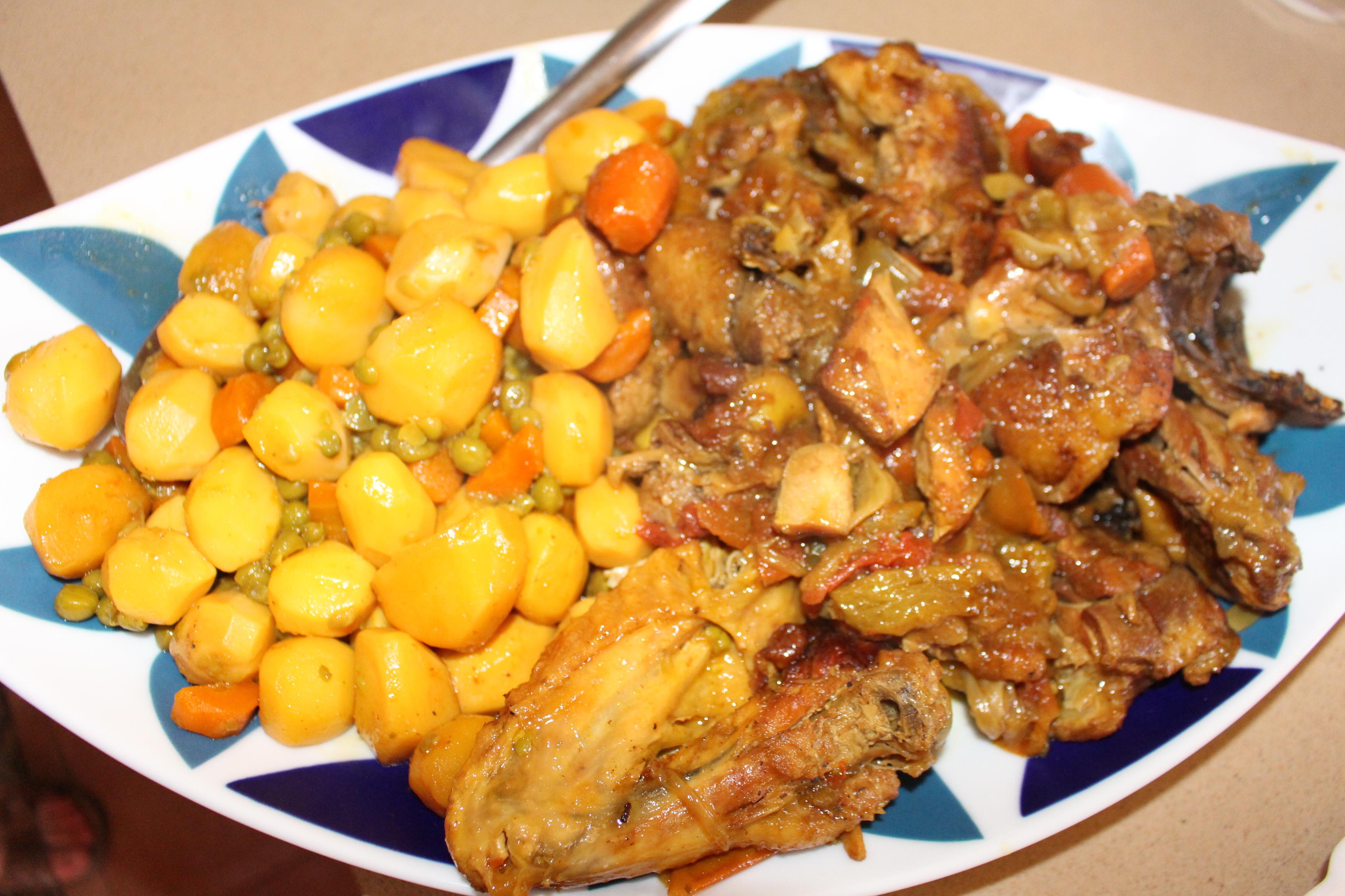 Gallo casero con verduras de Pepita da Silva